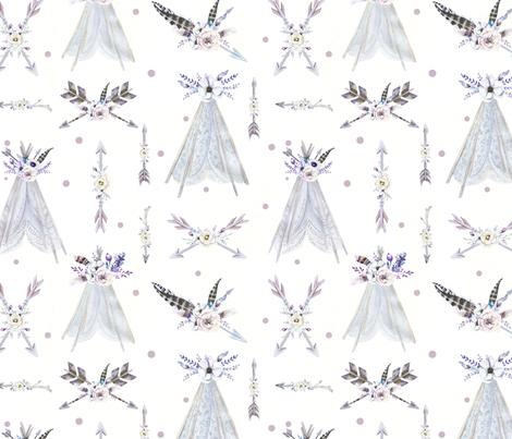 Teepee and Arrows in Purple and Grey fabric by hudsondesigncompany on Spoonflower - custom fabric