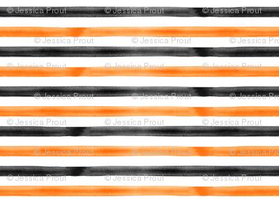 watercolor stripes - orange and black