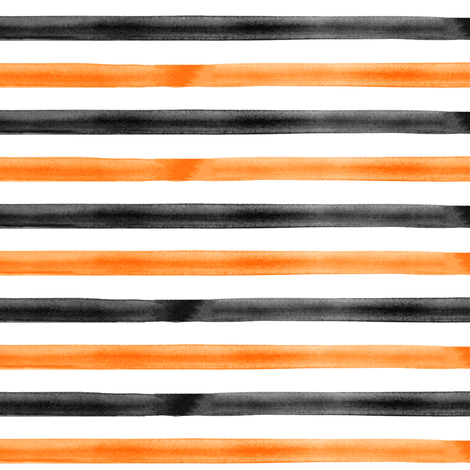 watercolor stripes - orange and black  fabric by littlearrowdesign on Spoonflower - custom fabric