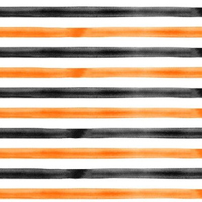 watercolor stripes - orange and black