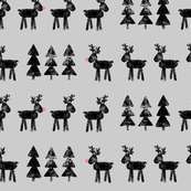 reindeer and trees - black on grey