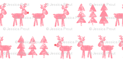 reindeer and trees - pink