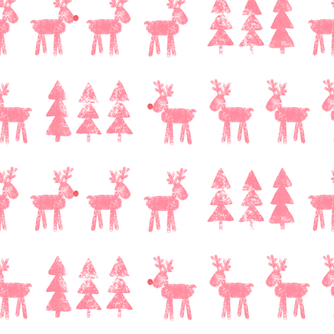 reindeer and trees - pink fabric by littlearrowdesign on Spoonflower - custom fabric
