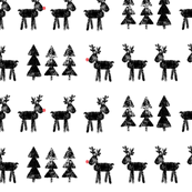 reindeer and trees - black