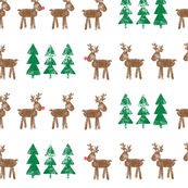 reindeer and trees - green and brown