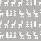 reindeer and trees - on grey