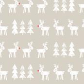 reindeer and trees on beige