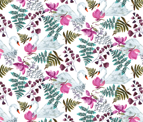 Lucid Dreams Ferns & Swans fabric by zoe_ingram on Spoonflower - custom fabric