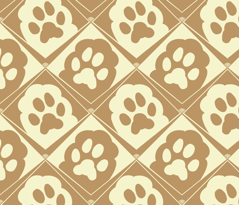 Puppy_Paws_Tan_and_Cream fabric by house_of_heasman on Spoonflower - custom fabric
