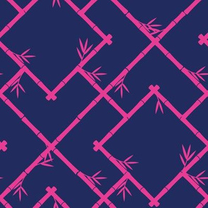 Bamboo Chinoiserie Lattice in Navy + Hot Pink
