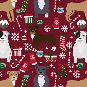 pitbull dog fabric pitbull xmas holiday christmas design - ruby