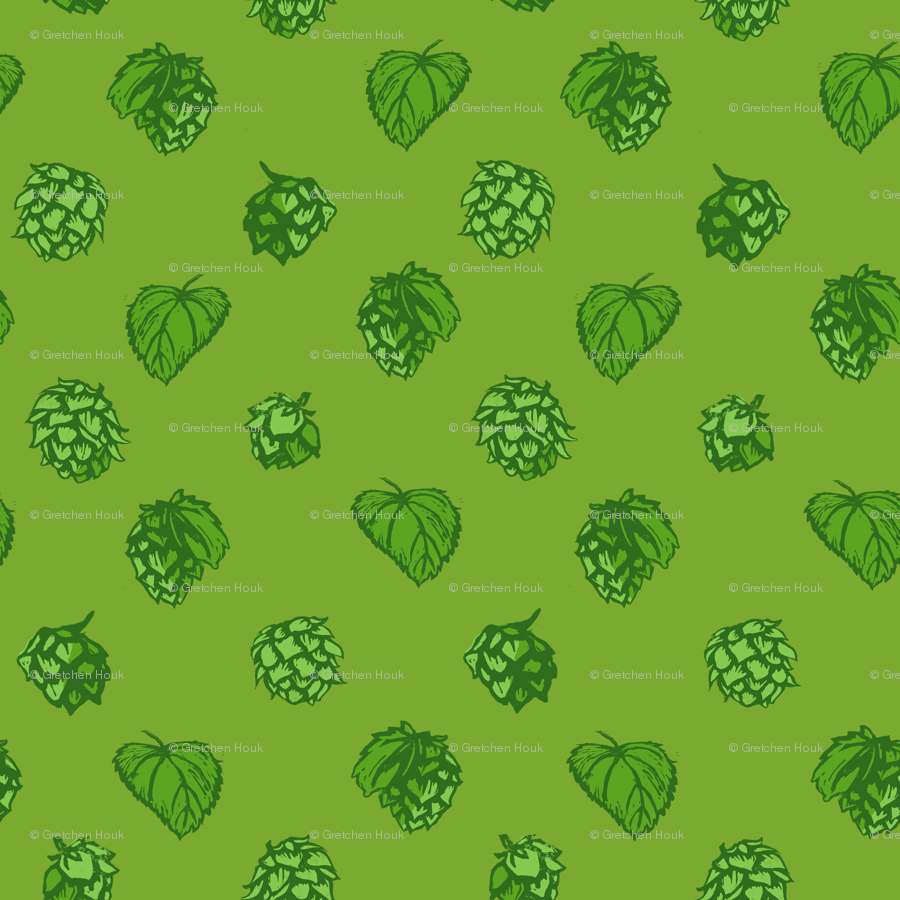 Polka Hops Green Wallpaper Ghouk Spoonflower