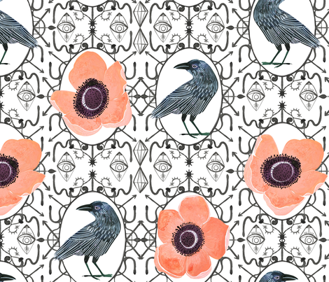 Lucid dreams Anemone & Ravens fabric by zoe_ingram on Spoonflower - custom fabric