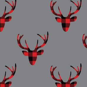 Buffalo Plaid Deer Gray