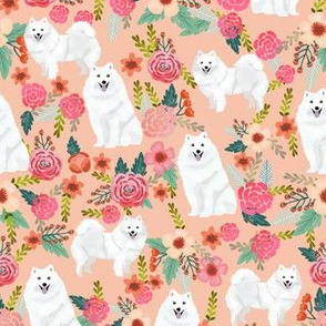 japanese spitz dog florals fabric dogs and flowers design - peach