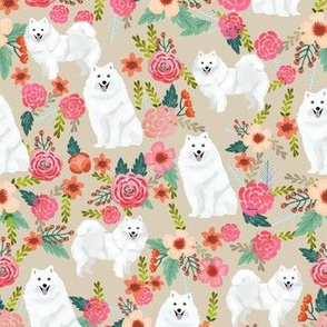 japanese spitz dog florals fabric dogs and flowers design - tan