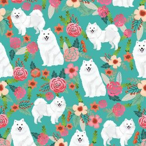 japanese spitz dog florals fabric dogs and flowers design - turquoise