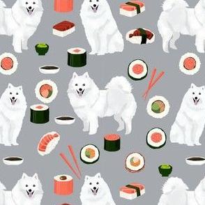 japanese spitz and sushi fabric cute dog and sushi design - grey