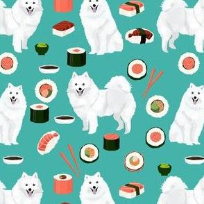 japanese spitz and sushi fabric cute dog and sushi design - turquoise