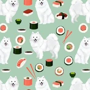 japanese spitz and sushi fabric cute dog and sushi design - mint
