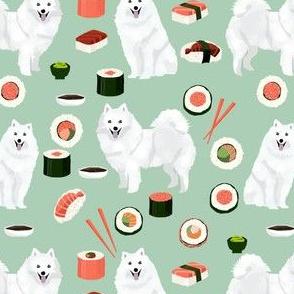 japanese spitz and sushi fabric cute dog and sushi design - mint