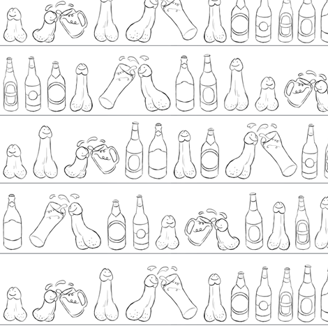 Cheers (Penis Beer Celebration) - on white - Drunk Cupboard Glasses Bottles Tasty Delicious Alcohol Alcoholic Cock Happy Penis Dick Sweet Beer Bottle Meat Food Party Food Snacks Drinks Beverage Hungry Thirsty Love Married Couple Single Jiggy-jig fabric by mellymolly on Spoonflower - custom fabric