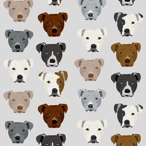 pitbull heads fabric pitbull terrier dog fabrics - light grey