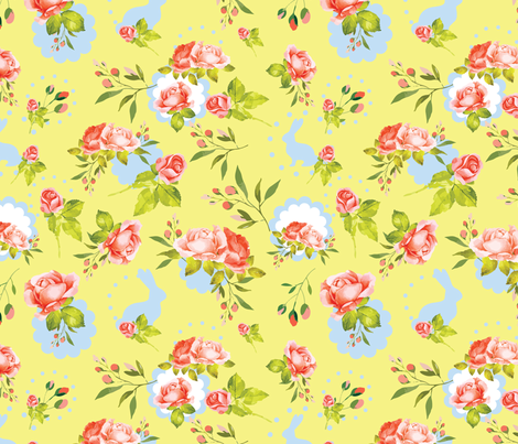 Vintage Easter Bunnies Yellow Floral fabric by twodreamsshop on Spoonflower - custom fabric
