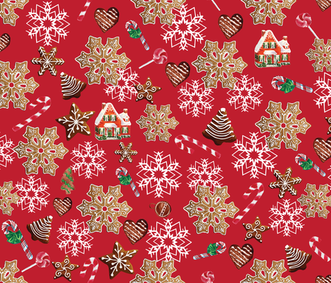 Gingerbread Vintage Christmas fabric by twodreamsshop on Spoonflower - custom fabric