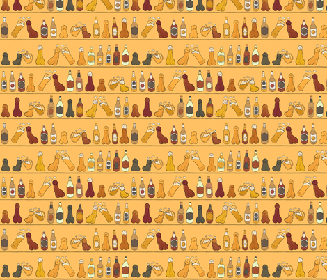 Cheers (Penis Beer Celebration) - Egyptian Wall Painting - Egypt Drunk Cupboard Glasses Bottles Tasty Delicious Alcohol Alcoholic Cock Happy Penis Dick Sweet Beer Bottle Meat Food Party Food Snacks Drinks Beverage Hungry Thirsty Love Married Couple S fabric by mellymolly on Spoonflower - custom fabric