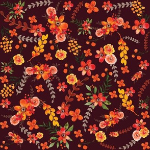 Fall Floral Dark Wine