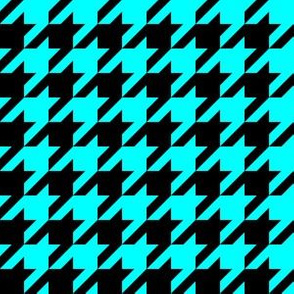 One Inch Aqua Blue and Black Houndstooth Check