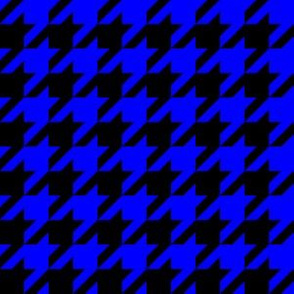 One Inch Blue and Black Houndstooth Check
