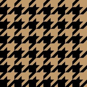 One Inch Camel Brown and Black Houndstooth Check