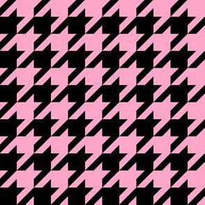 One Inch Carnation Pink and Black Houndstooth Check