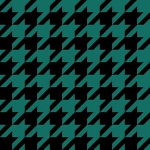 One Inch Cyan Turquoise Blue and Black Houndstooth Check