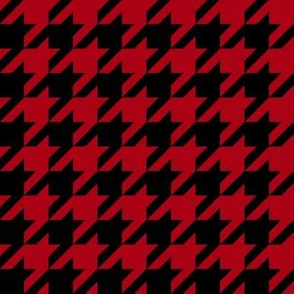 One Inch Dark Red and Black Houndstooth Check