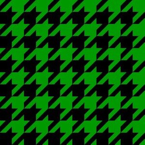 One Inch Christmas Green and Black Houndstooth Check