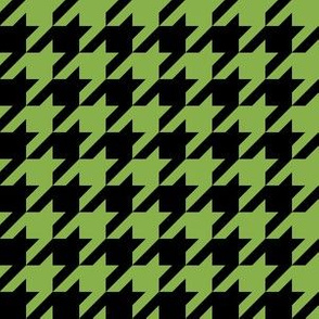 One Inch Greenery Green and Black Houndstooth Check