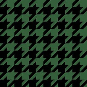 One Inch Hunter Green and Black Houndstooth Check