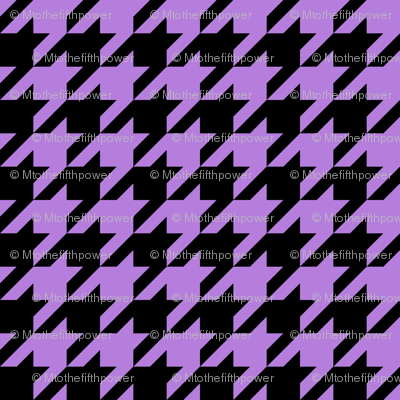 One Inch Lavender Purple and Black Houndstooth Check