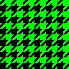 One Inch Lime Green and Black Houndstooth Check