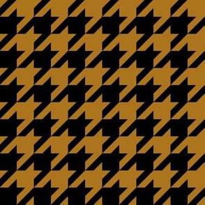 One Inch Matte Antique Gold and Black Houndstooth Check