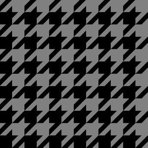 One Inch Medium Gray and Black Houndstooth Check