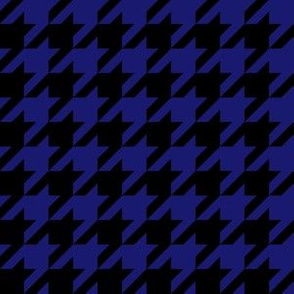One Inch Midnight Blue and Black Houndstooth Check