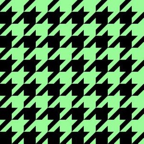 One Inch Mint Green and Black Houndstooth Check