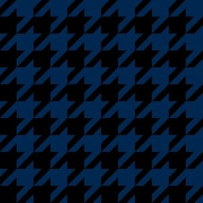 One Inch Navy Blue and Black Houndstooth Check