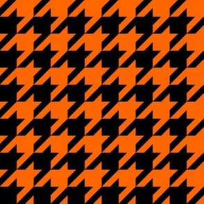 One Inch Orange and Black Houndstooth Check