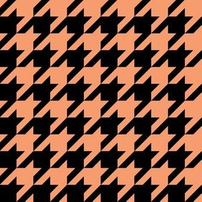 One Inch Peach and Black Houndstooth Check