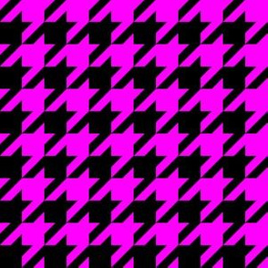 One Inch Pink and Black Houndstooth Check